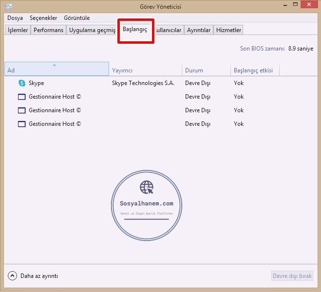Windows 10'da Başlangıç Programlarını Devre Dışı Bırakma